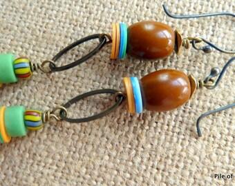 Birhan* Colorful African Bead Earrings Ethnic Organic Tribal World Citizen Jewelry Blue Green Yellow Brown Olumbo Padra Vulcan Jewelry