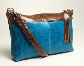 Perfect Blue Leather Purse with Brown Leather accent and Removable Shoulder Strap to Clutch Bag
