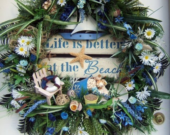 XXL Beach wreath, Huge, Summer wreath, Beach, ocean, Pool, seashore wreath,  Nautical, sailboat, tropical wreath, gift