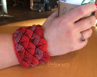 Dragon Scale Cuff Bracelet Ladies Accessories Crocodile Scale Gifts for Her Red Wrist Warmer Ready to Ship