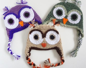 Owl Hat 3-6 Month Purple Green Brown Gifts for Babies Ready to Ship Gifts for Baby Earflap Winter Beanie