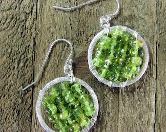 Peridot Hoop Earrings, Sterling Silver & Peridot Earrings, Wire Wrapped Gemstone Earrings, August Birthstone Jewelry