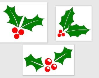 Holly and Berries - SVG, Studio3, PDF, PNG, Jpg File - Custom Designs & Wording Welcome