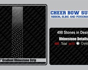 "3"" Cheer Bow Gradient Rhinestone Strip 3"" X 13"" INSTANT FILE DOWNLOAD"