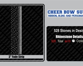 """3"""" Cheer Bow Ombre Fade Rhinestone Strip 3"""" X 13"""" INSTANT FILE DOWNLOAD"""