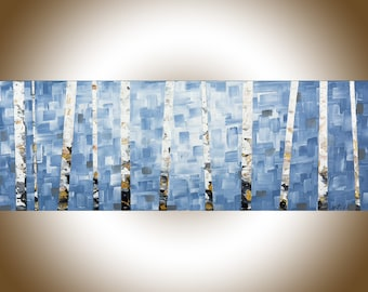 Birch painting light blue grey black white narrow art painting on canvas office wall decor wall hangings original abstract by qiqi