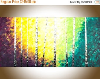 Colourful painting large wall art birch tree sColor painting on canvas yellow orange blue green white black office wall decor by qiqi