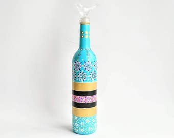 Blue wine bottle: Hand painted wine bottle with birdie topper upcycled glass bottle functional art