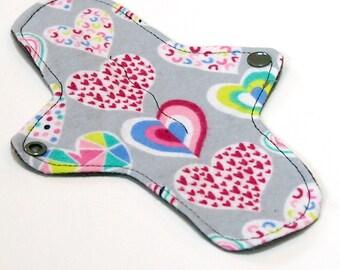 "8"" Ultrathin Reusable Cloth Pantyliner Minipad - Cotton Flannel top - Grey Hearts"