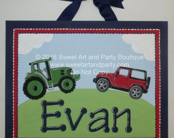 Tractor, Jeep, canvas name sign, tractor wall art, personalized, custom, monogram, jeep wall art, boys room decor, transportation wall art
