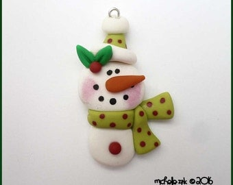 SALE Polymer Clay Winter Snowman in Green Charm Pendant
