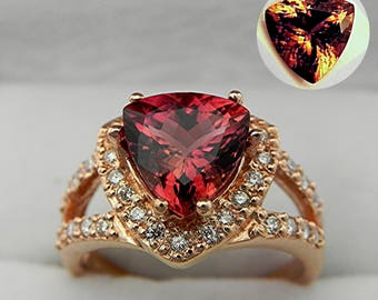 Reserved for RM Ward AAAA Red Bronze Color-change Tourmaline Rubellite Trillion 9x9mm 2.47Ct 14K Rose gold diamond halo .50ct ring Ring 0749