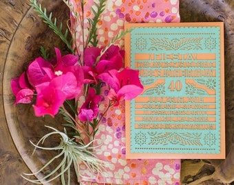 BIRTHDAY Fiesta Papel Picado Laser cut Invitation - Papel Picado Inspired - As seen on Style Me Pretty