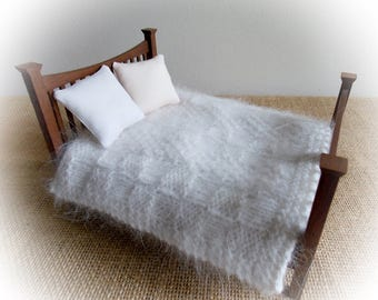 Miniature Dollhouse Afghan Rug or Throw for Bed or Sofa 1:12 or 1 inch scale..Hand Knitted in a Textured Stitch..Soft and Fluffy Angora Yarn