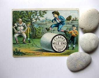Vintage Victorian Thread Trade Card, Clarks Mile End Spool 60 Cotton, Leaping Over Spool