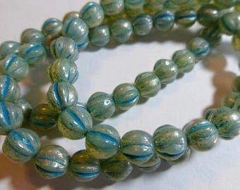 """6mm Aqua """"Mercury"""" Fluted Glass Czech Melon Beads (25) 1181"""
