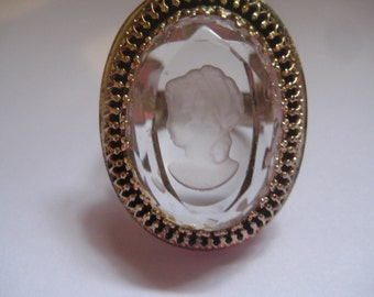 Vintage Whiting and Davis Reverse Carved Glass Cameo Ring Adjustable