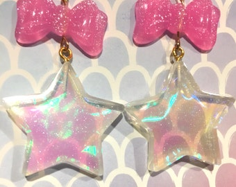 Hologram Prism Star And Bow Dangle Earrings