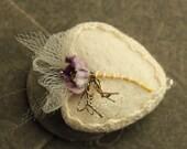 Vintage Taupe Flower Wool Heart Valentine - Vintage Blossom and Metallic Trim - Tiny Embroidered Handmade Needle Felted Heart