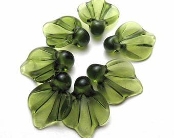 LEAF BEADS, Lampwork Glass Leaves, green glass leaf, autumn leaves, lampwork glass bead, sra lampwork