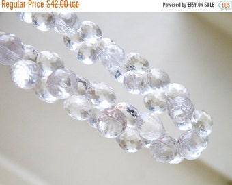 Final 51% off Sale Rock Crystal Quartz Gemstone Briolette Faceted Onion 9.5mm Full Strand 42 beads