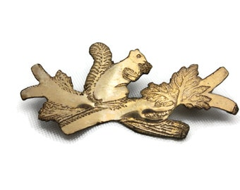 Victorian Squirrel Brooch - Gold Washed, Tree Branch
