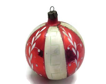 Painted Glass Christmas Ornament - Blown Glass, Red and White, Vintage Christmas