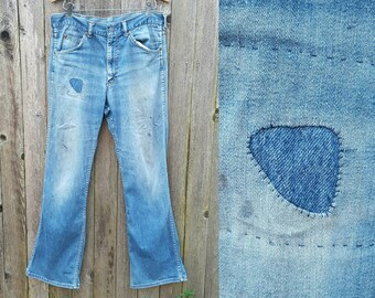 Vintage 70s Jeans  //  Vtg  Distressed Trashed Flared Boot Cut Dirty Hippie Jeans with Mend