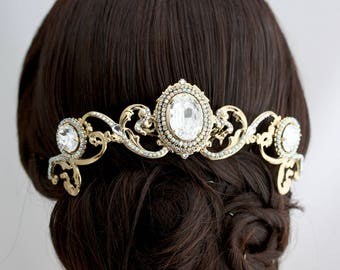 Wedding Headpiece Wedding Hair Accessory Gold Crystal Veil Comb Statement Head Piece Statement Comb Headpiece TAYA HEADPIECE