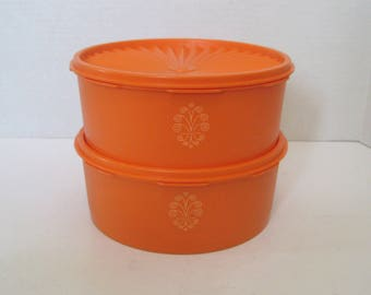 Vintage Orange Tupperware Stacking Storage Containers Kitchen Canisters
