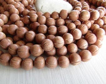 carved Rosewood round wood beads  , pink wood, natural exotic supplies  from Philippines  11 to 12mm  ( beads ) 6ph21