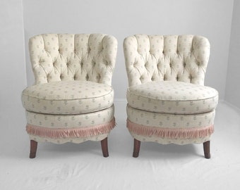 25% SALE 2 SHABBY CHIC ivory floral tufted slipper chairs