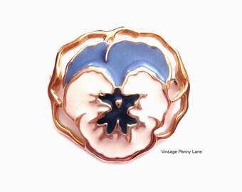 Pansy Pin, Gold Enamel Flower Brooch