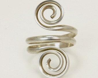 Modernist Sterling Silver Spiral Ring
