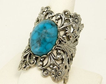 Vintage Filigree Silver Faux Turquoise Ring Boho Statement Jewelry