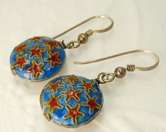 Vintage Sterling Silver Cloisonne Earrings Red & Blue Stars