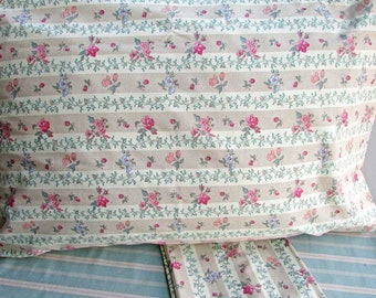 Pair of Cotton Floral Pillowcases, Vintage Floral  and Vine in Rose, Blue, Beige, 2 Standard Size Pillowcases,  Bedding, Bedroom Decor