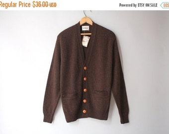 STOREWIDE SALE Vintage Men's Wool Cardigan / 1970s Wool Sweater / Vintage Deadstock Nos Campus Cardigan medium