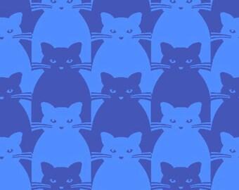 Cats Blue Kitty Kitty Yolanda Fundora Blank Quilting Fabric 1 yard