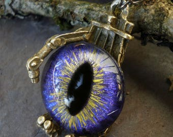 Gothic Steampunk Robot Claw Pendant with Purple Eye