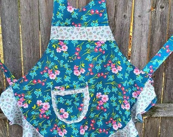 Turquoise and Pink Flowered Full Flouncy Ruffled APRON