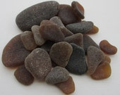 English sea glass, brown surf tumbled glass, beach glass, Cornwall, eco craft supply, jewelry making supplies, 30 frosted pieces, UK seller
