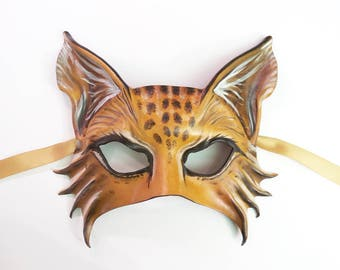 Lynx Wildcat Cat Leather Mask animal masks Bobcat Maine Coon