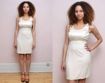 Vintage 90s Ivory Cream Satin Mini Dress  - Size S