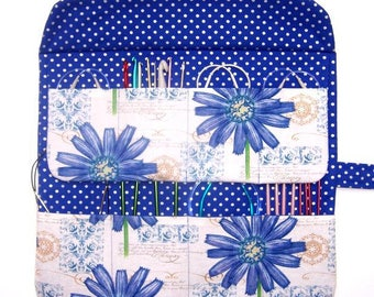 Blue Circular Knitting Needle Case, Floral Double Pointed Needle DPN Holder, Silver Polka Dot Crochet Hook Storage Organizer, Artist Brushes