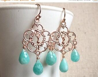 15% OFF sale, Amazonite Chandelier Earrings, Silver or Rose Gold Vermeil, Boho Earrings, Gemstone earrings, Style Countryside,