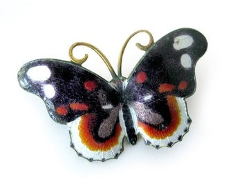 Vintage Enamel Butterfly Brooch / Black Copper Enamel Butterfly Pin / Vintage Jewelry