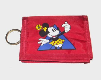 1980s Disney wallet / 80s nylon wallet / Minnie Mouse Red Wallet