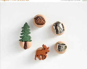Moose Watching Magnets Camping Outdoors Kitchen Decoration. Pine Tree, Pine Cone, Canteen Cup. Gift Idea for Home Office Kids Back to School