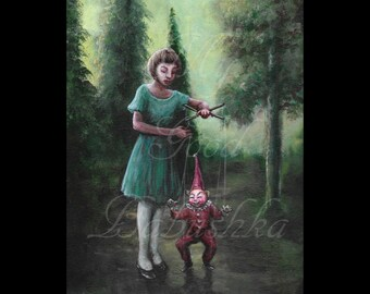 The Red Puppet, Original Painting, Forest, Surrealism, Child, Toy, Fairy Tale, Folk Tale, Woods, Mystery, Macabre Art, Dark Art, Marionette
